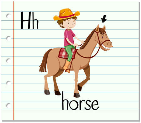riding: Flashcard letter H is for horse illustration