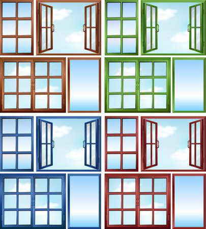 open windows: Windows close and open illustration