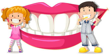brushing teeth: Boy and girl with clean teeth illustration