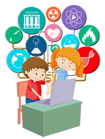 schoolwork: Boy and girl working on computer illustration