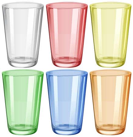 bicchiere d'acqua in sei diversi colori illustrazione