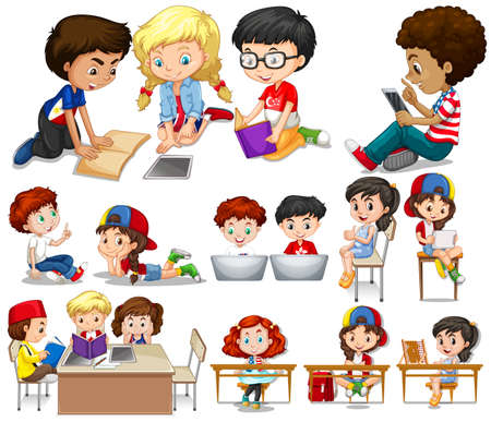 Children reading and learning illustration