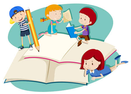 Children writing and reading illustration