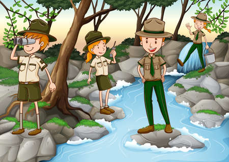 waterfall in forest: Park rangers standing at the waterfall illustration