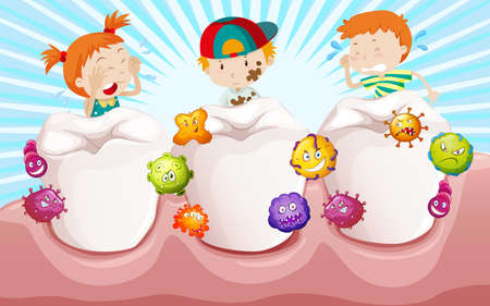 dirty teeth: Children with dirty teeth illustration Illustration