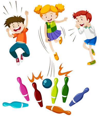 Children playing game of bowling illustration Çizim