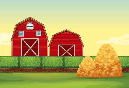 barns: Farm scene with barns and haystacks illustration