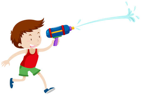 water gun: Boy playing with water gun illustration