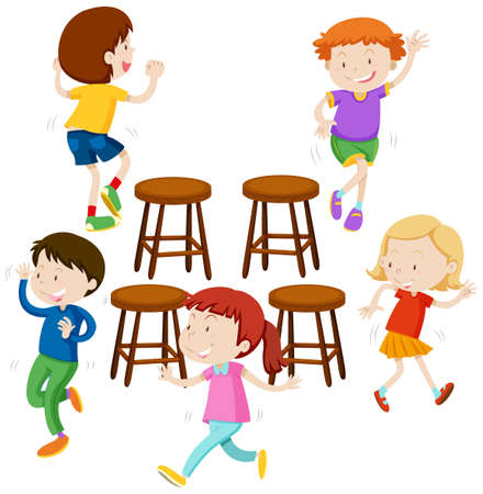 niños jugando: Los niños jugando a las sillas musicales ilustración