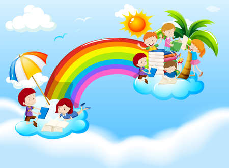 Children reading books over the rainbow illustration