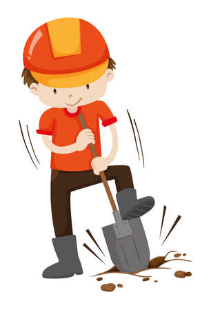 digging: Man digging hole on the ground illustration