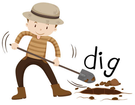 digging: Man with shovel digging a hole illustration