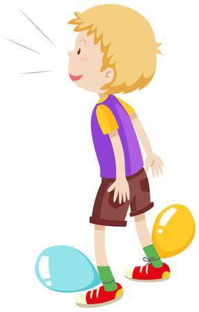 popping: Boy playing balloons popping illustration