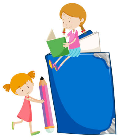 two girls: Two girls reading books illustration