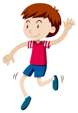 alone boy: Happy boy dancing alone illustration Illustration