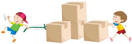 pushing: Boys pulling and pushing boxes illustration