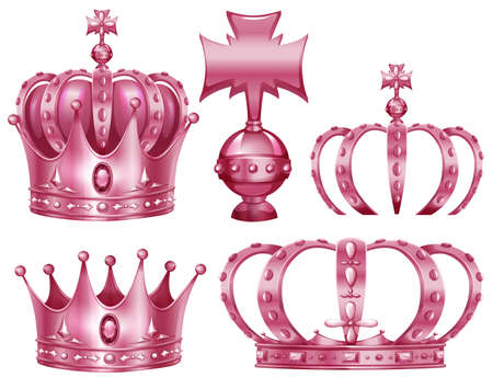 crown: Different design of crowns in pink color illustration