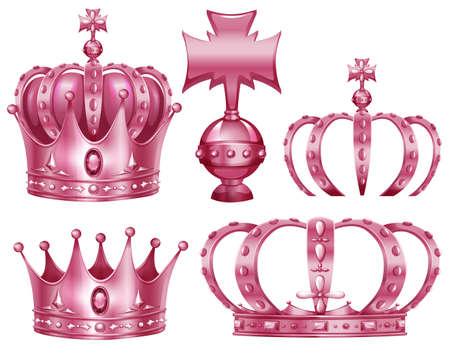 Different design of crowns in pink color illustration