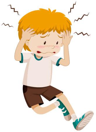 Muchacho triste que tiene ilustración de dolor de cabeza