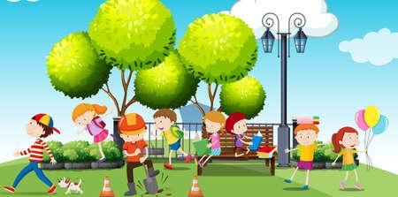 dessin enfants: Les enfants traîner dans le parc illustration