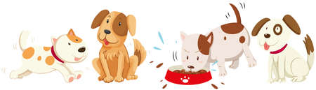 Dogs in different actions illustration