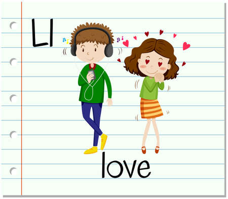 phonetic: Flashcard letter L is for love illustration Illustration