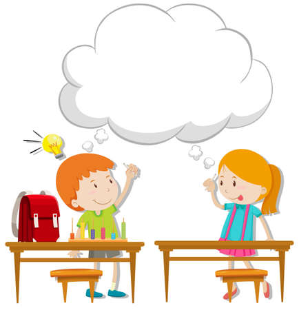 Boy and girl with thinking bubble illustration Illustration