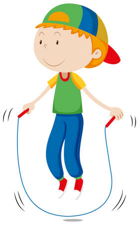 white clip: Little boy skipping the rope illustration