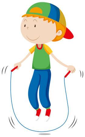 ni�os sanos: Ni�o peque�o que salta la cuerda de la ilustraci�n
