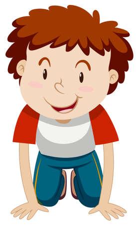 El niño pequeño con el pelo rizado rodillas hacia abajo la ilustración