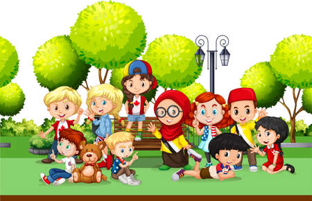 international students: Children from different countries in the park illustration