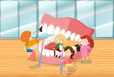 cleaning teeth: Children cleaning teeth together illustration