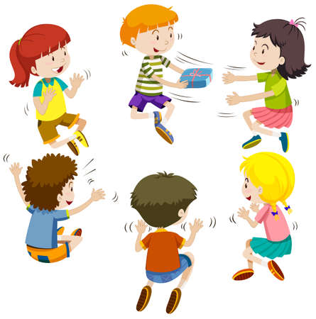 Group of kids passing present box illustration