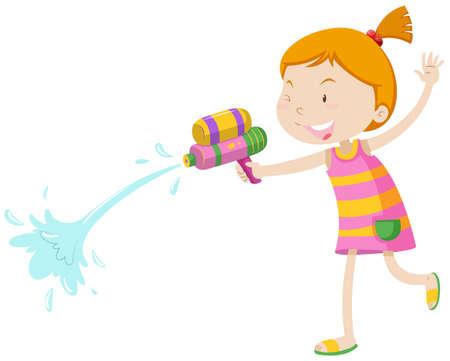 pistola: Niña jugando con pistola de agua de la ilustración Vectores