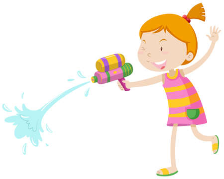 Girl playing with water gun illustration Illustration