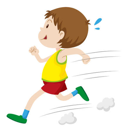 Little boy running fast illustration