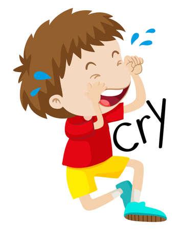 tear: Sad boy crying his tears out illustration Illustration