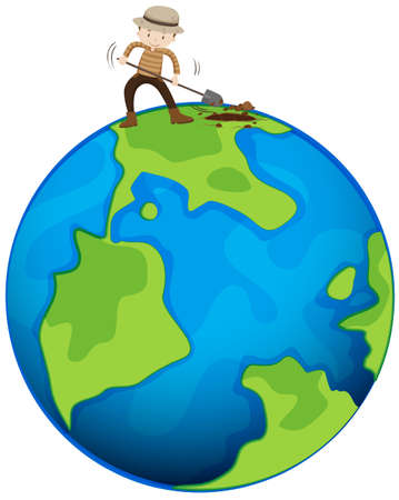 digging: Man digging the earth illustration Illustration