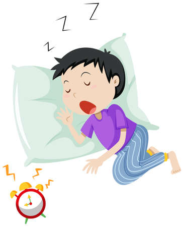snore: Boy sleeping on pillow illustration