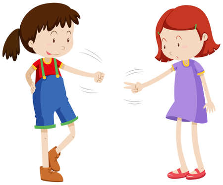 paper art: Two girls playing paper scissors rock illustration Illustration