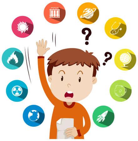 preguntando: El muchacho haciendo preguntas acerca de la ilustración trabajo escolar Vectores