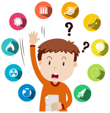 Boy asking questions about school work illustration Illustration