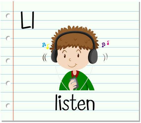 l boy: Flashcard letter L is for listen illustration