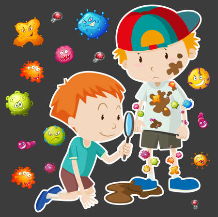 dirty: Dirty boy with bacteria illustration Illustration