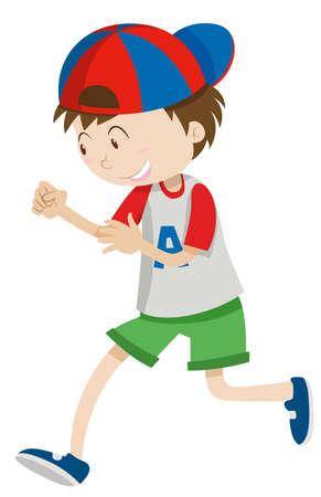 Boy with a cap walking illustration Illustration