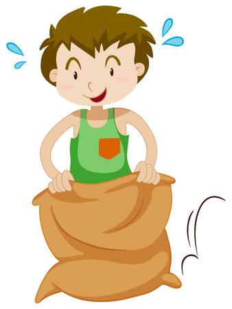 kid illustration: Boy in the sack jumping illustration