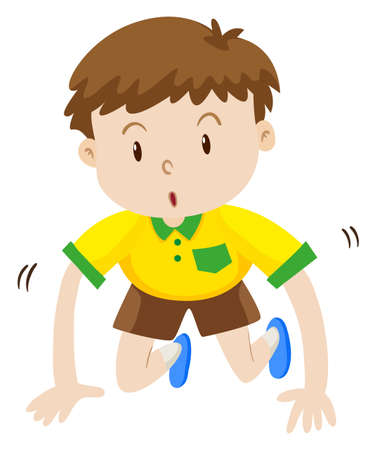 bends: Cute boy crawling on the floor illustration