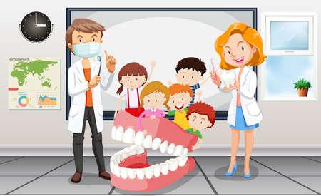 Dentisti e bambini in aula illustrazione