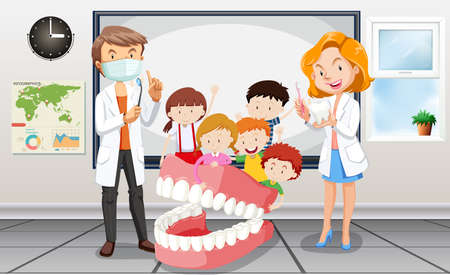 Dentists and children in classroom illustration
