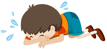 alone boy: Little boy crying alone illustration Illustration